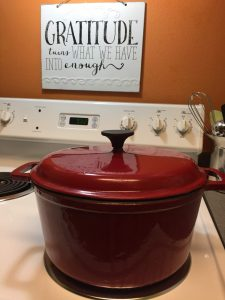 My favorite red porcelain covered cast iron pot