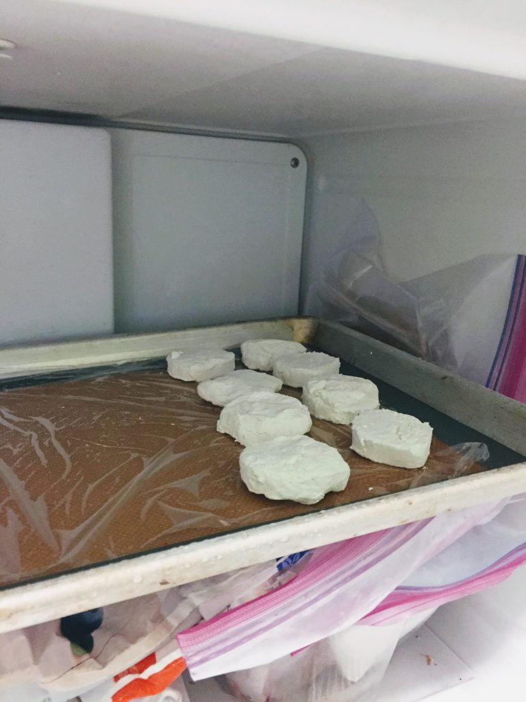 goat cheese rounds in freezer