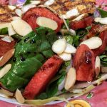 Spinach Watermelon Salad with Goat Cheese Medallions